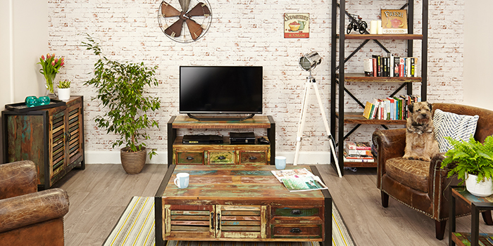 Urban Chic Reclaimed Wood Living Dining Bedroom Furniture