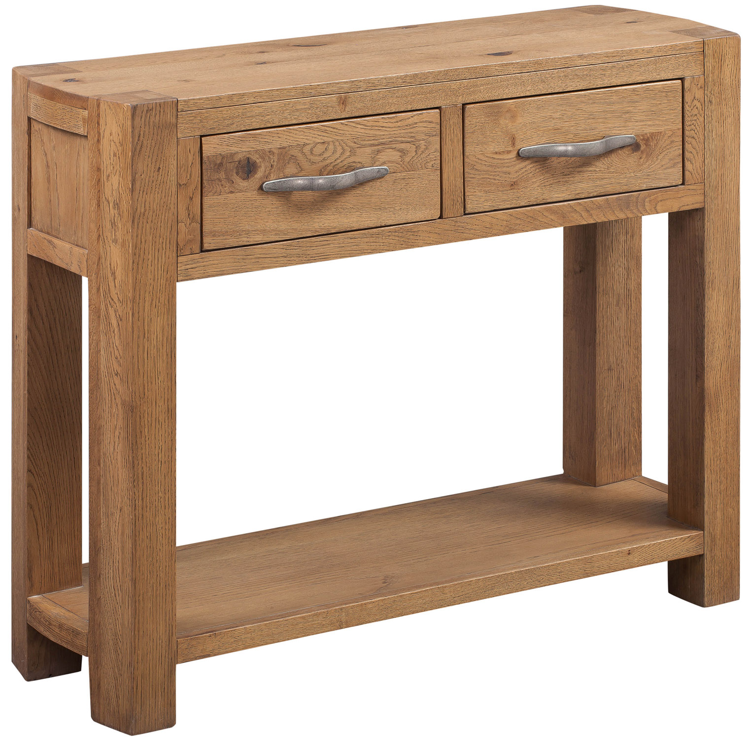 Details about distressed oak 2 drawer console table solid wooden side end telephone table