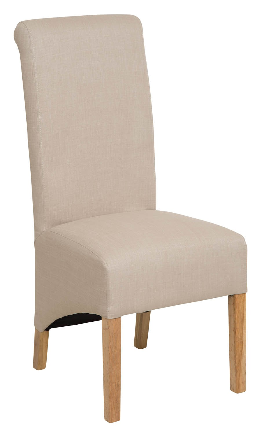 Roll Top Natural Fabric Dining Chair 106cm Hallowood