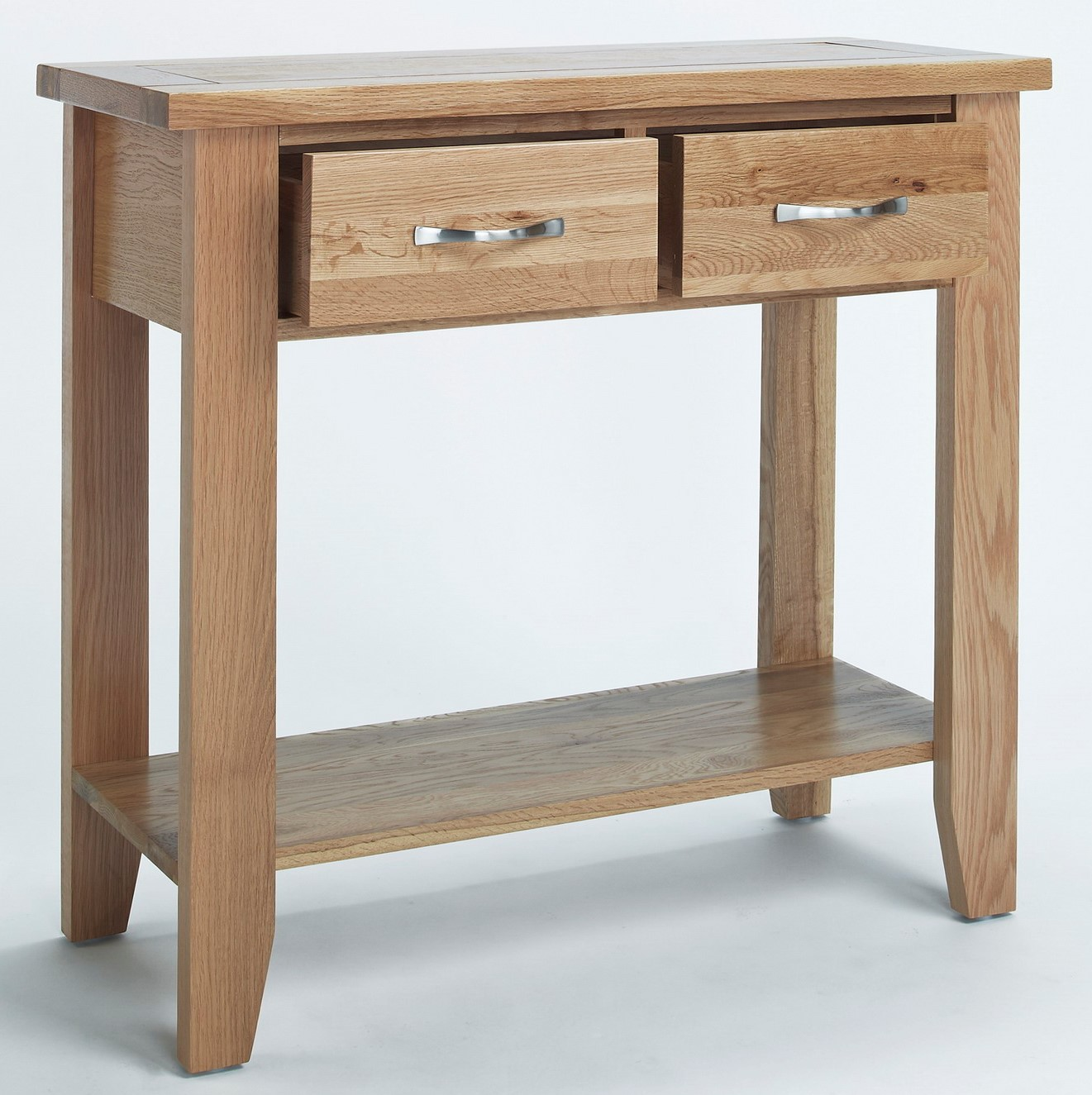 Camberley Oak Small Console Table With 2 Drawers Hallowood