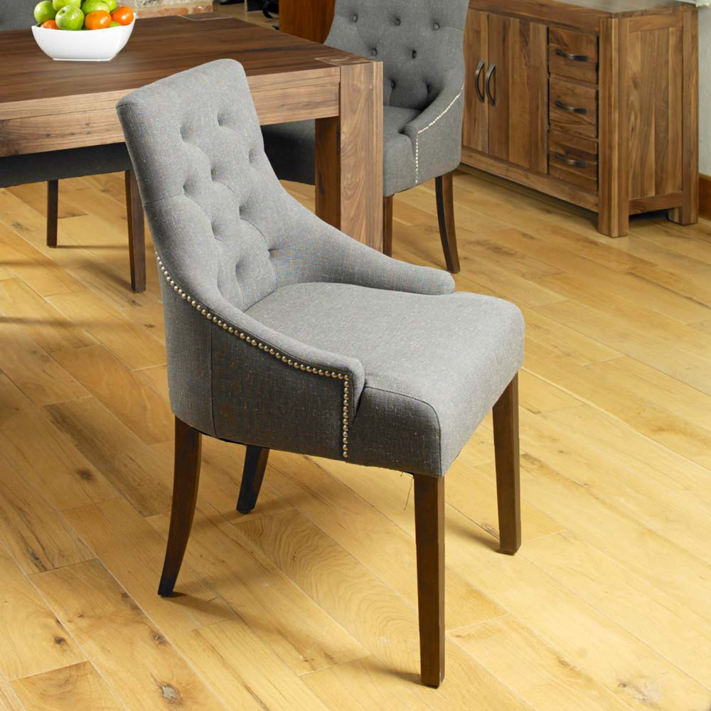 Shiro Walnut Accent Upholstered Dining Chair Stone Pack