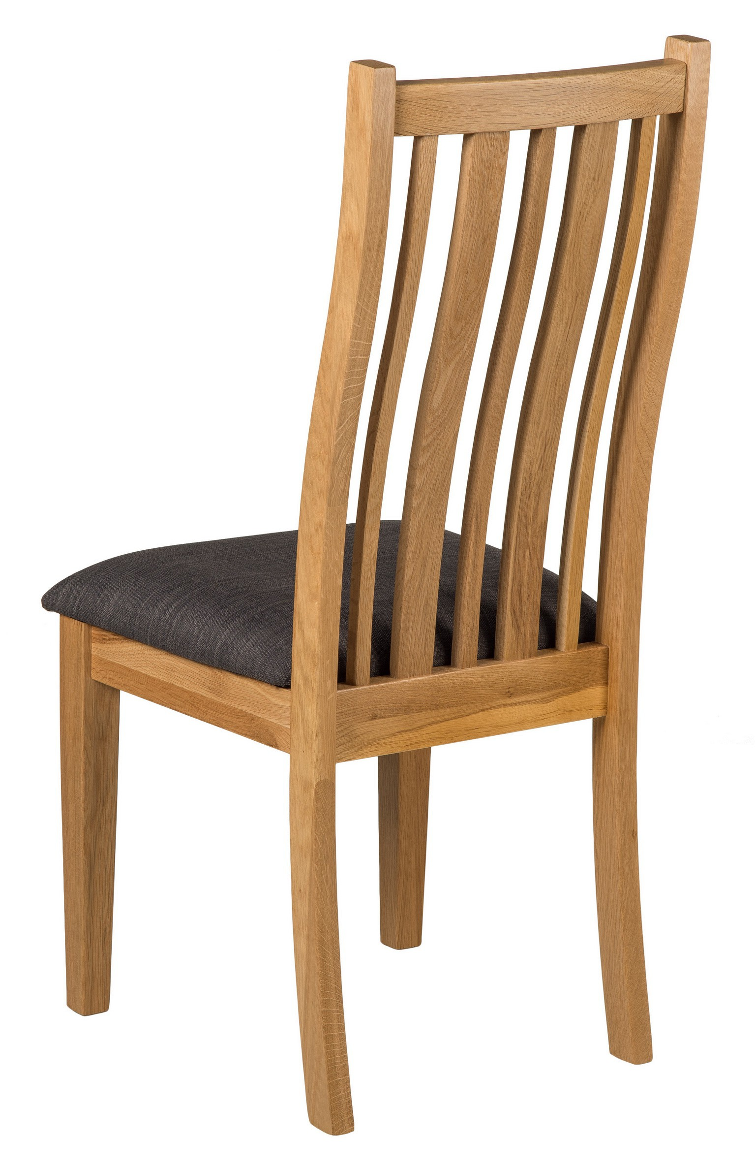 Oak Chair With Charcoal Grey Fabric Seat Pad Pair