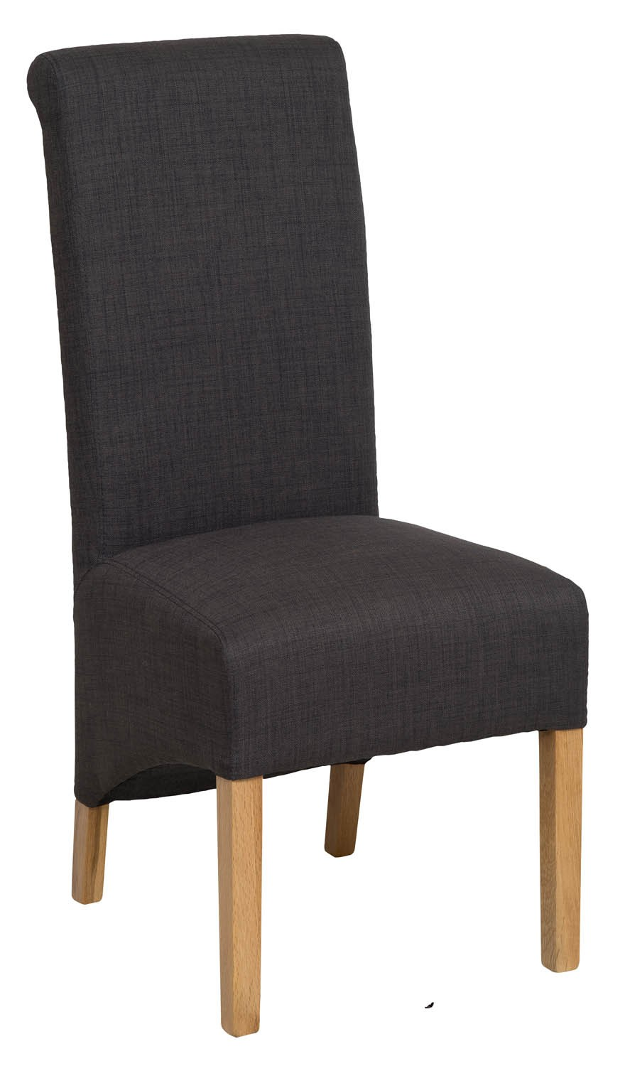 Roll Top Charcoal Grey Fabric Dining Chair 106cm