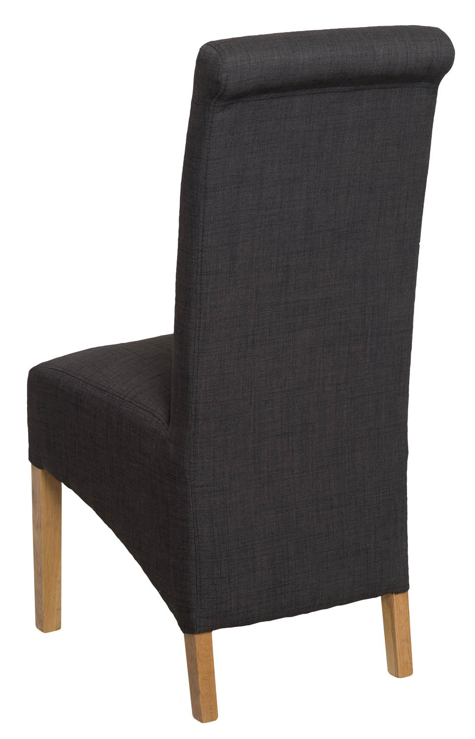 Roll Top Charcoal Grey Fabric Dining Chair Pair Dining