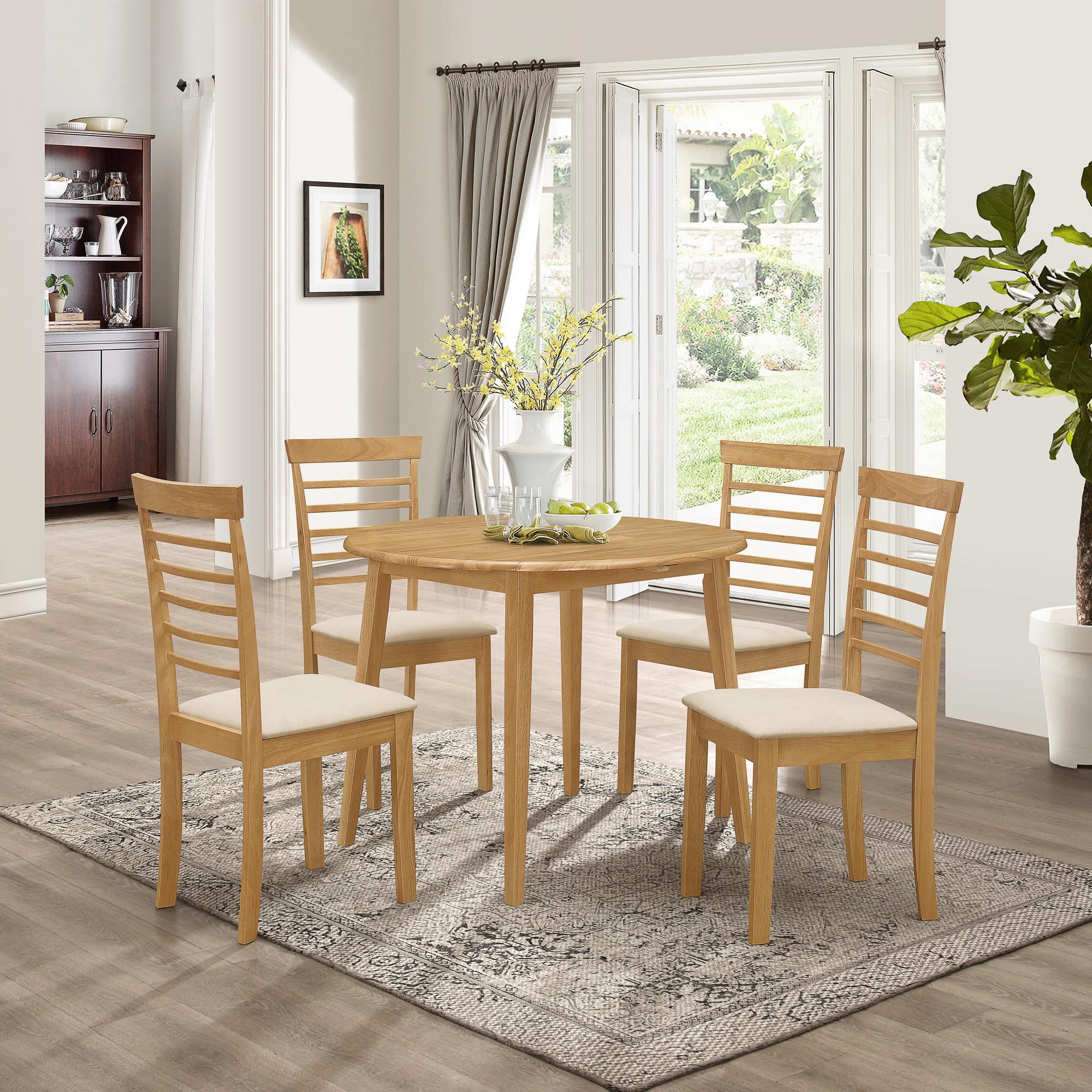 Ledbury Solid Rubber Wood Drop Leaf Kitchen Dining Round Table Set