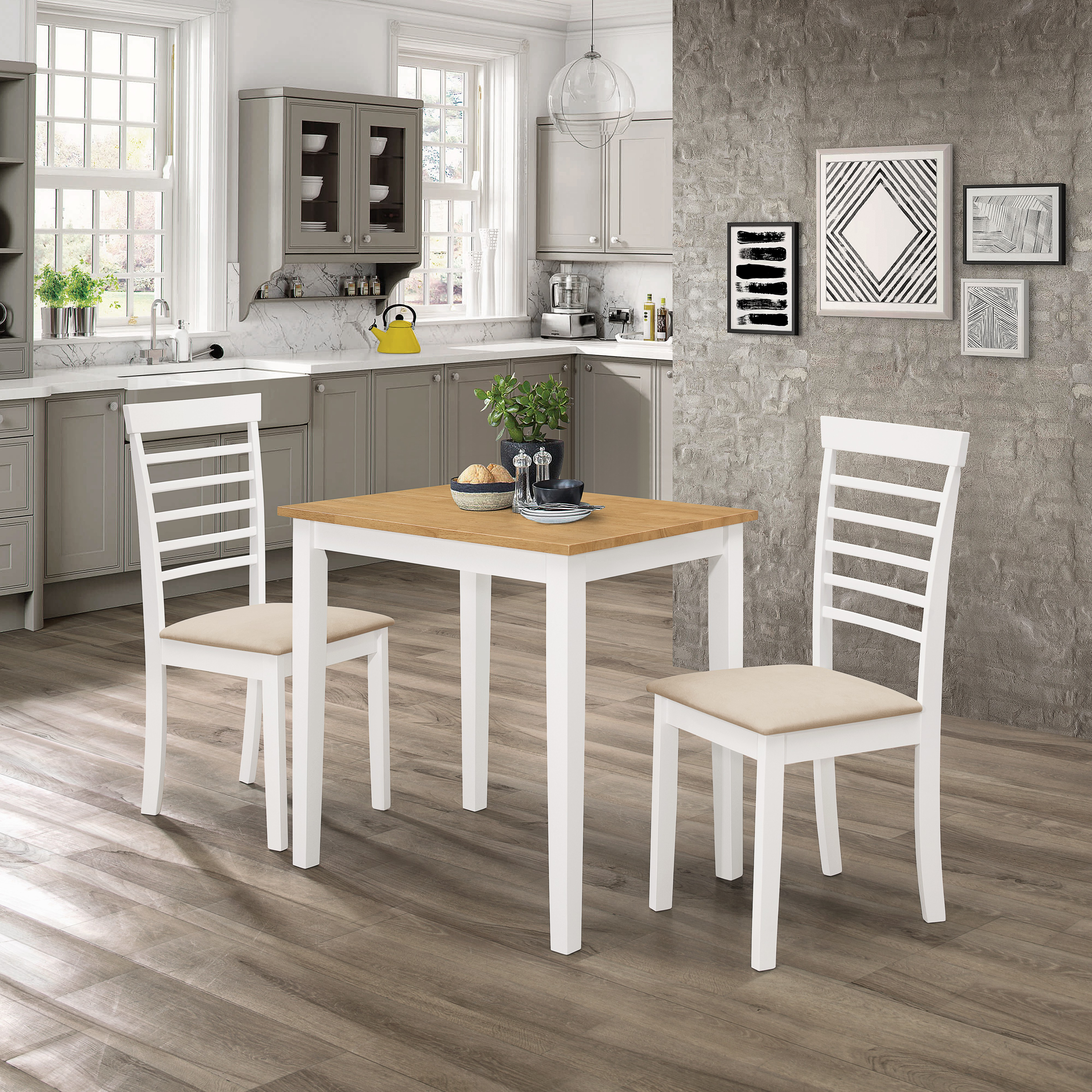 Ledbury Solid Rubber Wood Small Kitchen Dining Table Set Hallowood
