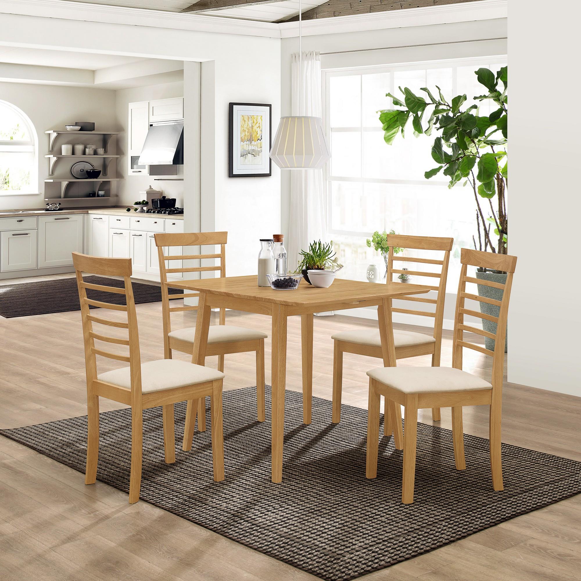 Ledbury Solid Rubber Wood Drop Leaf Kitchen Dining Table Set