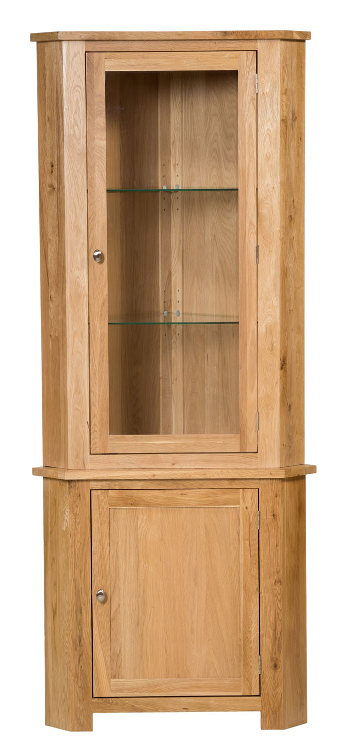 Waverly oak tall corner display cupboard cabinet hallowood for Corner cabinet