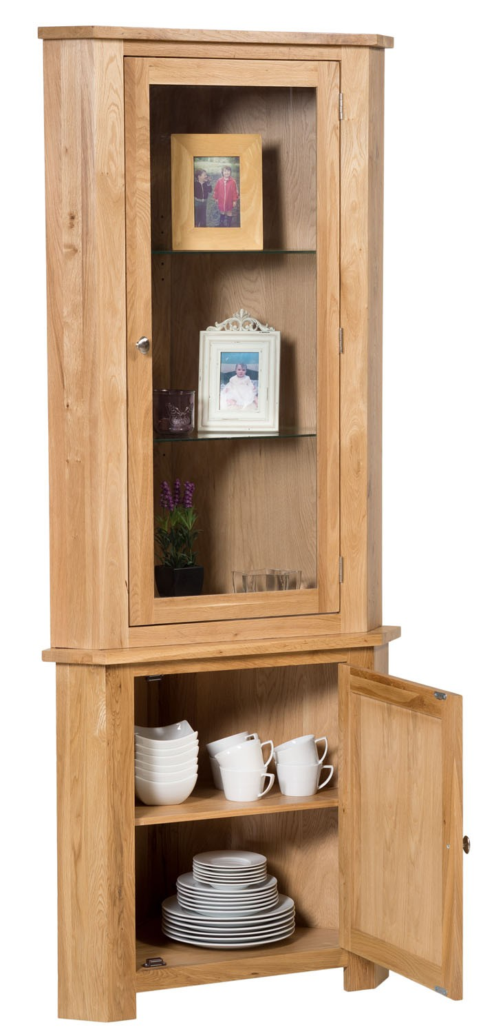 Waverly Oak Tall Corner Display Cupboard Cabinet Hallowood