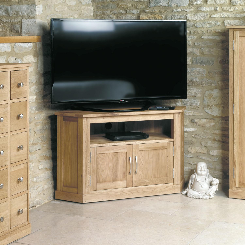 Mobel oak corner television cabinet tv stands living room hallowood for Tv corner cabinets living room