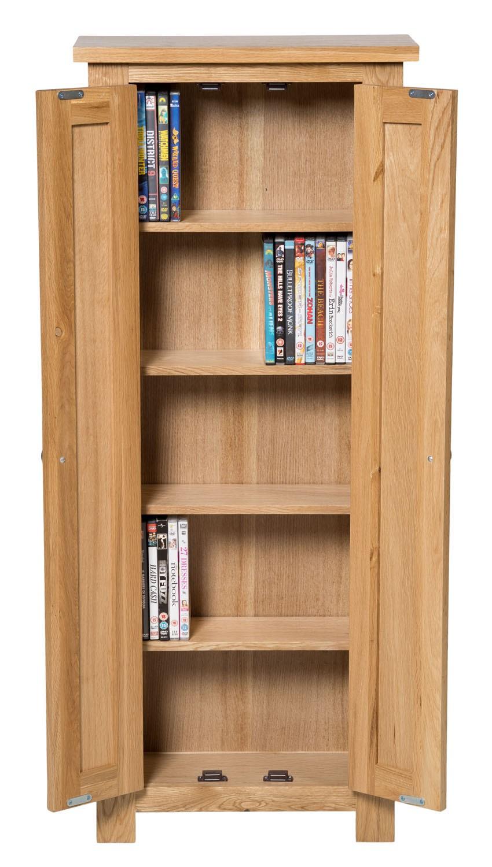 Waverly oak 2 door dvd storage cupboard cabinet hallowood for Cupboard or cabinet