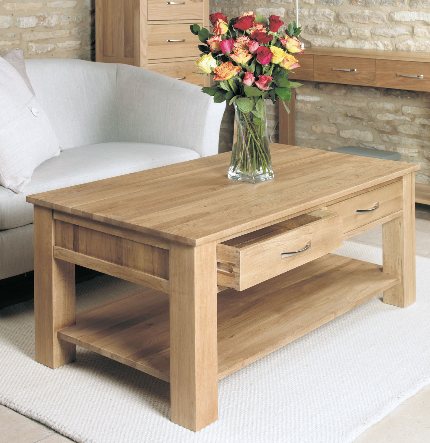 Mobel Oak Four Drawer Coffee Table Coffee Tables Living Room Hallowood