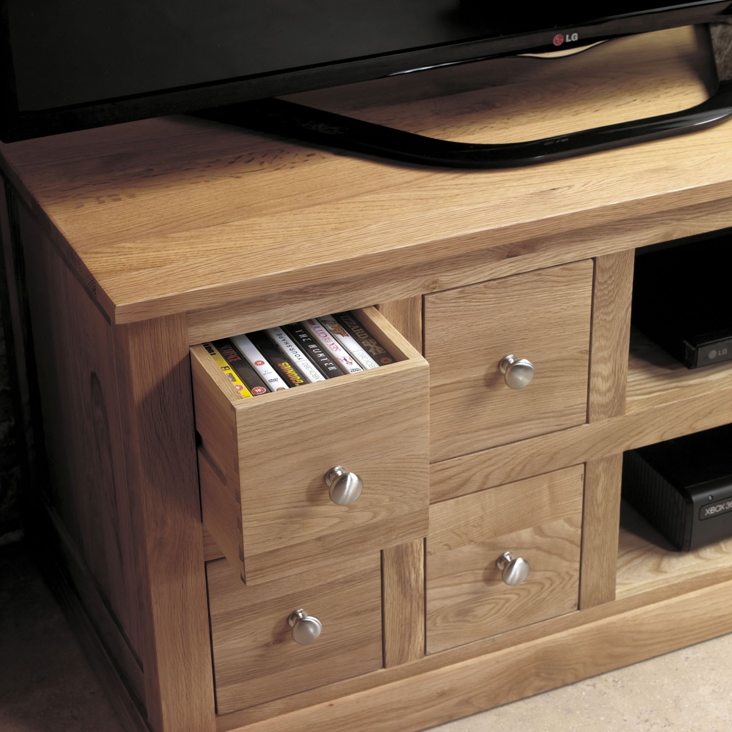 Mobel oak four drawer television cabinet tv stands for Mobel