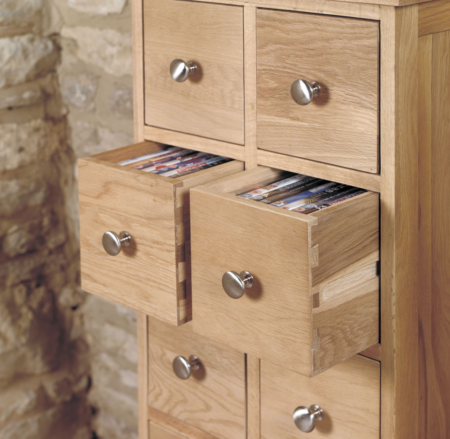 Mobel Oak Multi Drawer Dvd Cd Storage Chest Mobel Solid Oak