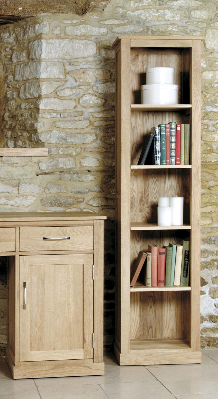 Mobel Oak Narrow Bookcase Hallowood