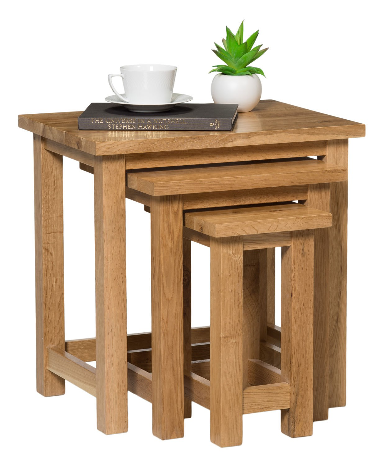 Solid oak nest of tables from waverly different
