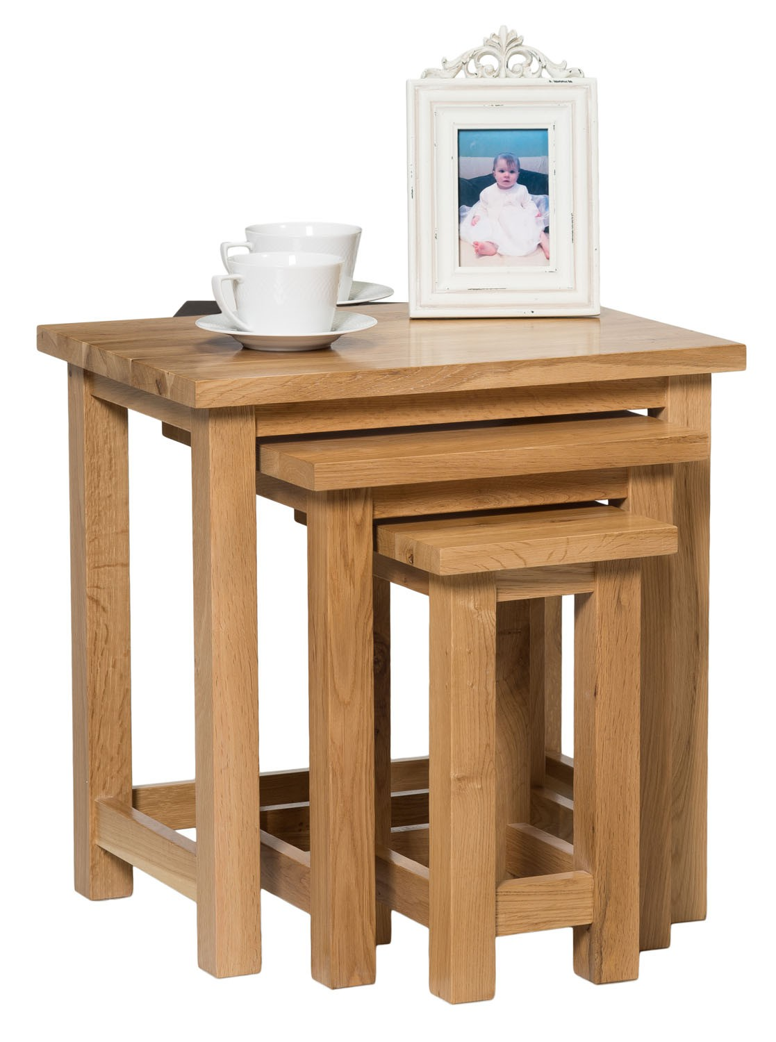 Solid Oak Nest Of 3 Tables From Waverly 3 Different