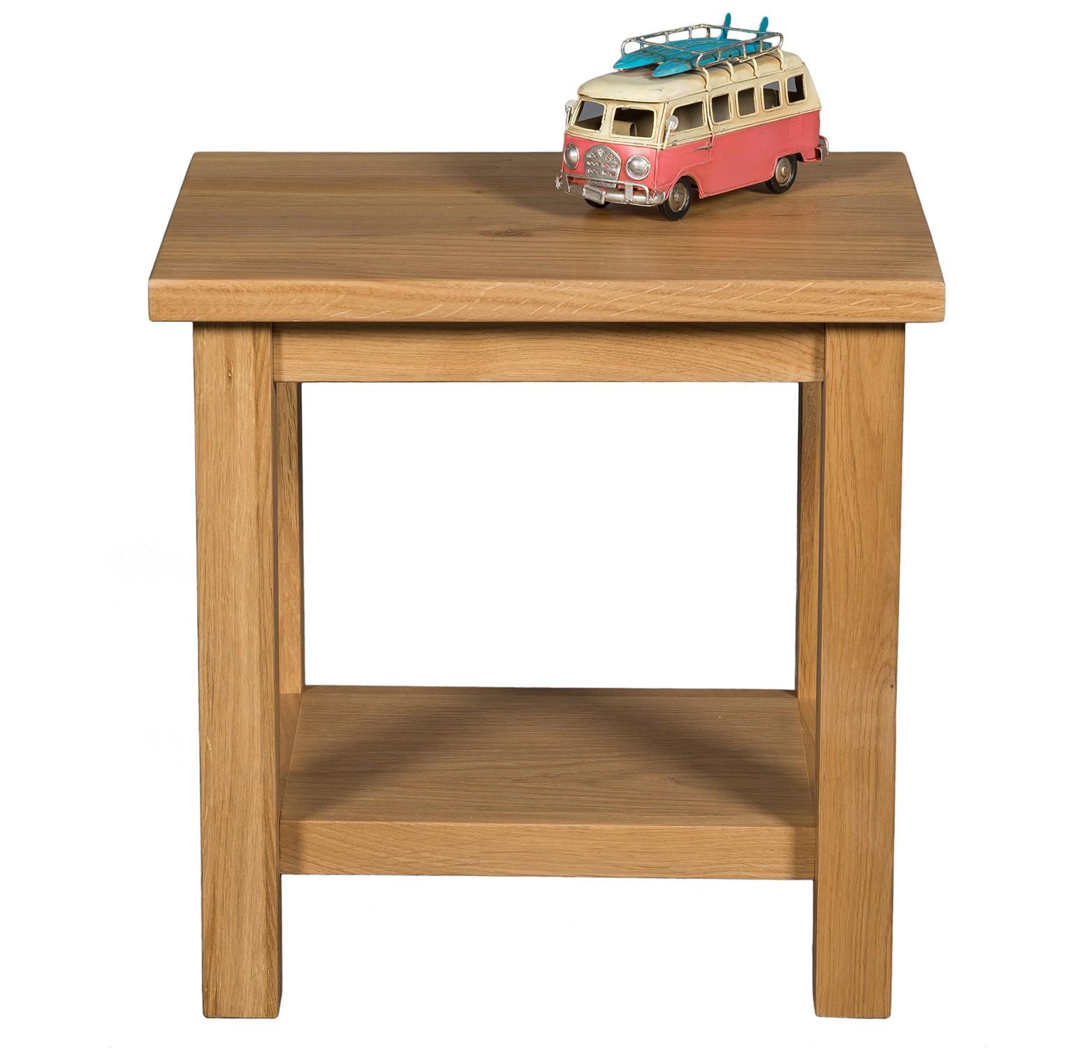 Waverly Oak Small Compact Lamp Side Table With Shelf Hallowood