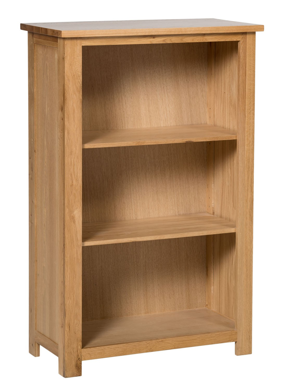 Waverly Oak Small Wide Bookcase with 3 Shelves | Hallowood