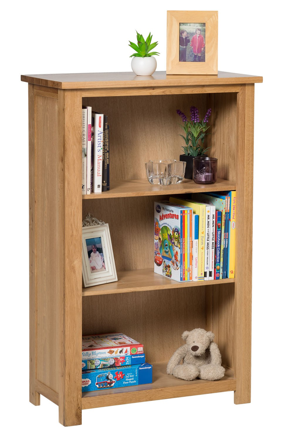 Waverly oak small wide bookcase with 3 shelves hallowood for Small bedroom bookcase