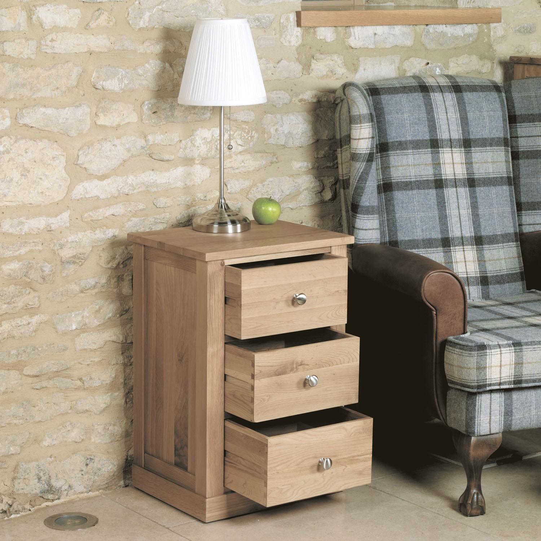 Mobel oak three drawer lamp table hallowood - Mobel for living ...
