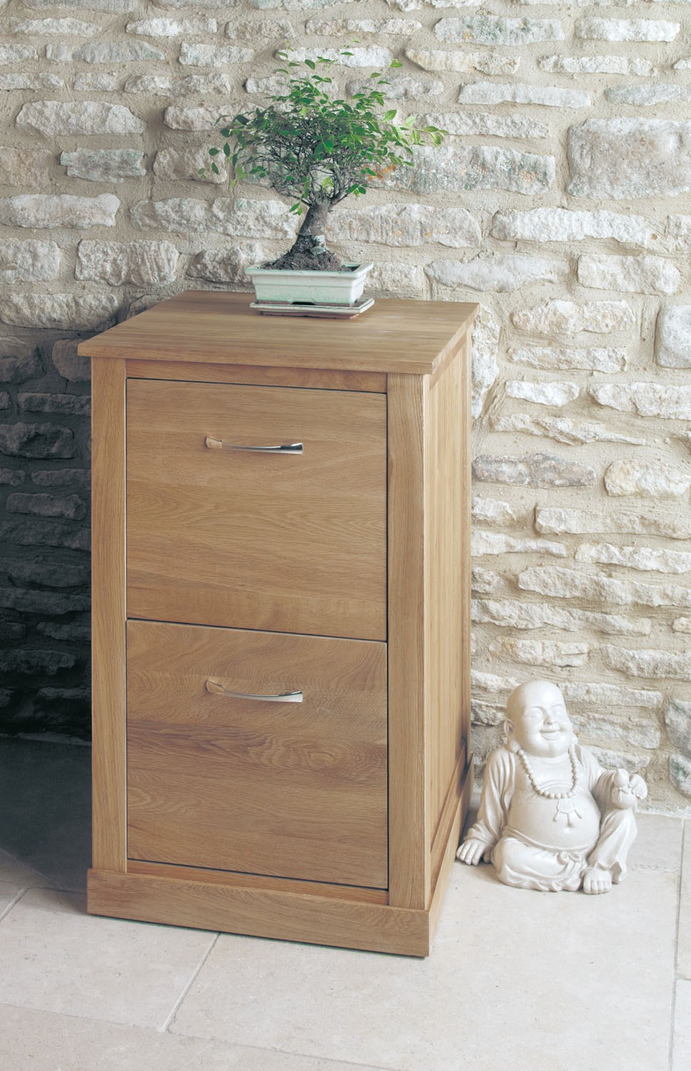 Mobel Oak Two Drawer Filing Cabinet | Hallowood