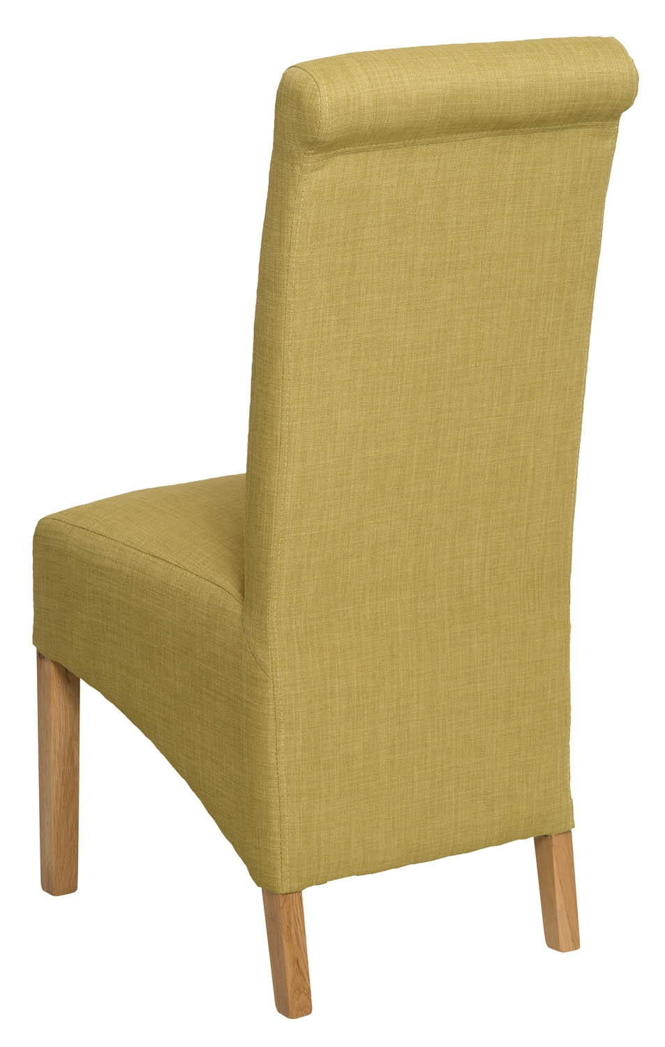 Roll Top Lime Fabric Dining Chair Pair Hallowood