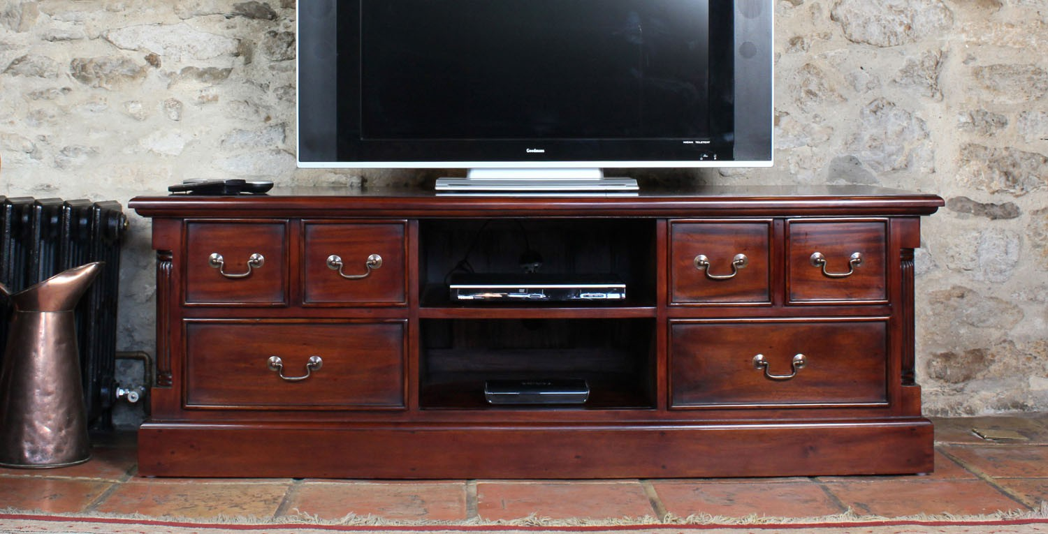 La roque widescreen television cabinet tv stands for Mahogany furniture