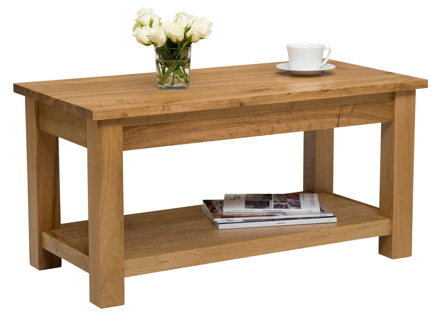 Waverly Solid Oak Large Coffee Table With Shelf Hallowood