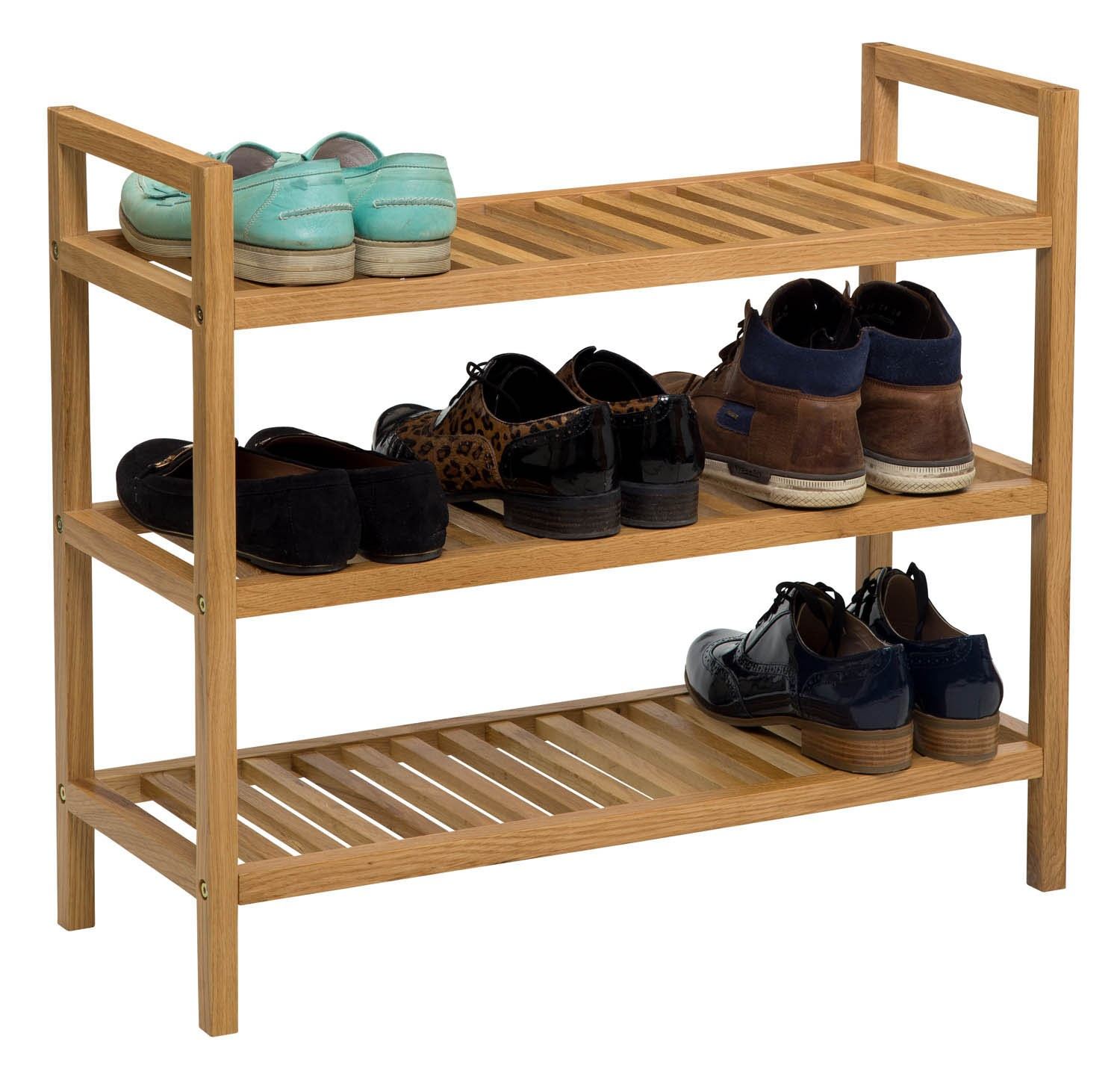 Oak And White Shoe Storage