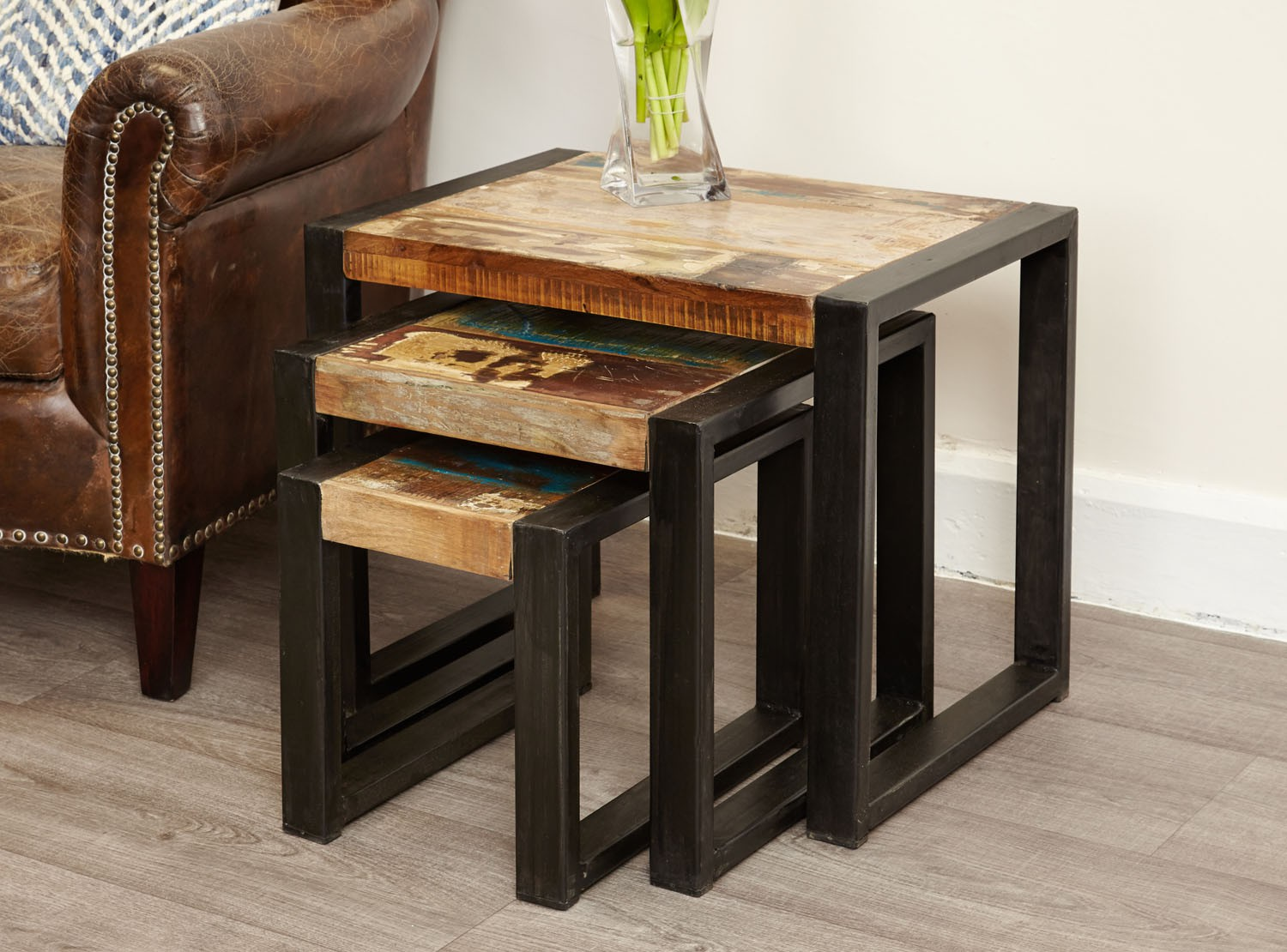 Urban Chic Nest Of Tables Urban Chic Reclaimed Wood Shop By Range Hallowood