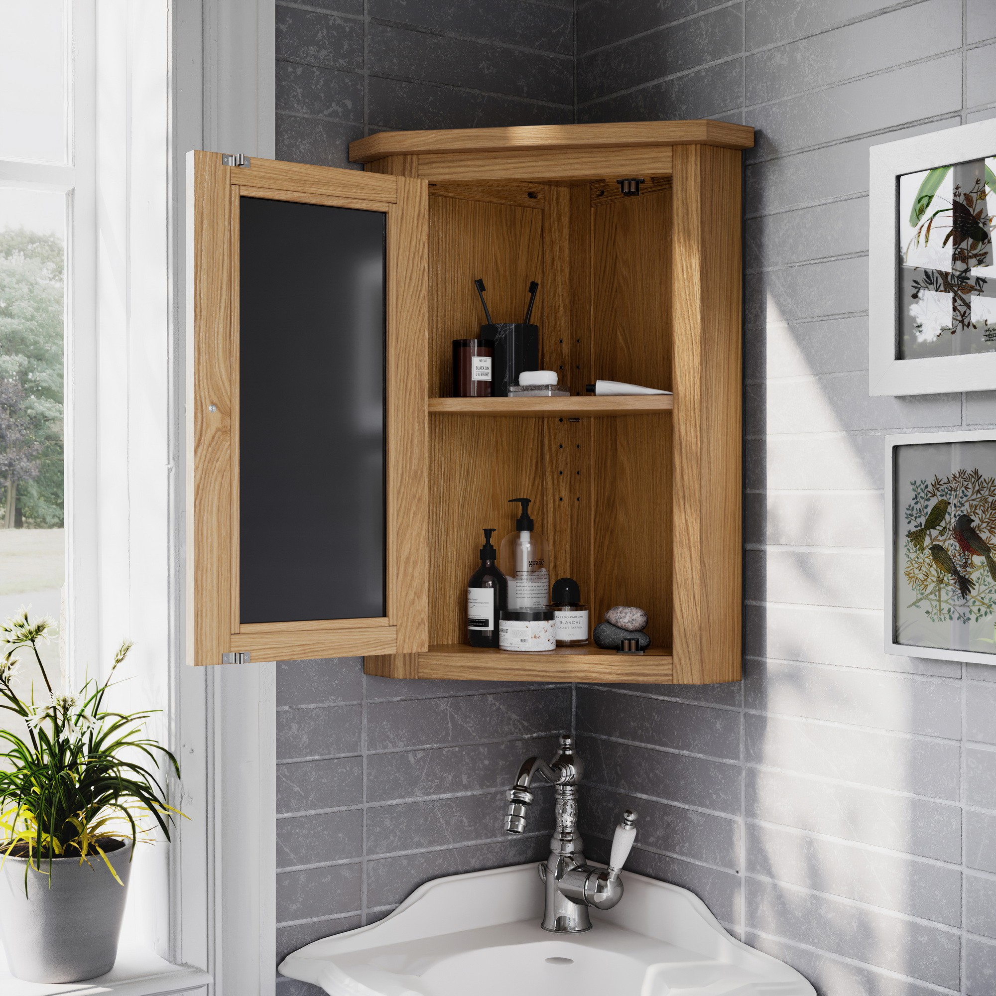 Waverly Solid Oak Small Bathroom Corner Cabinet Cupboard Hallowood