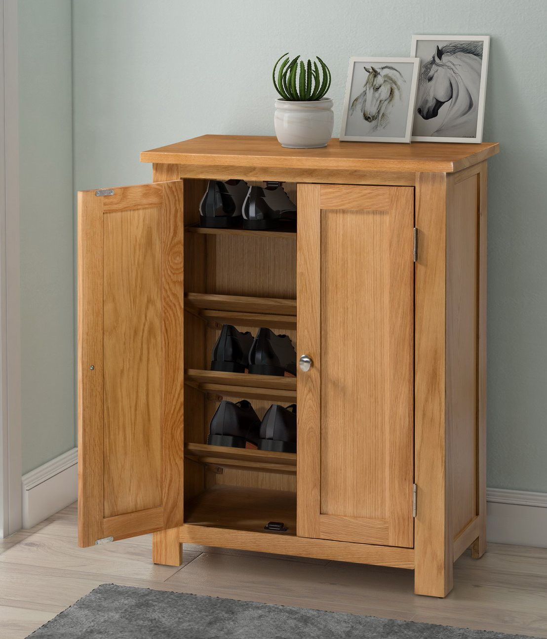 Waverly Oak Storage Cupboard Shoe Cabinet Hallowood