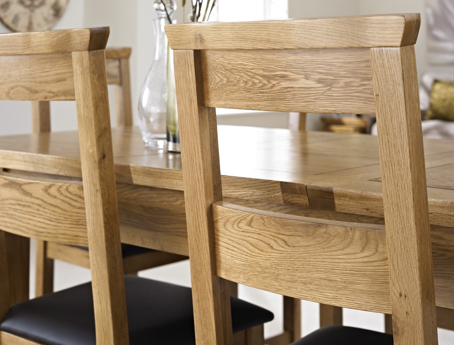 ... London Rustic Oak Extending Dining Table with Four Chairs ... & London Dark Oak Extending Dining Table with Four Chairs - Package ...