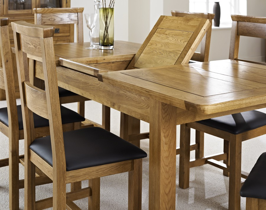 london dark oak extending dining table with six chairs hallowood. Black Bedroom Furniture Sets. Home Design Ideas