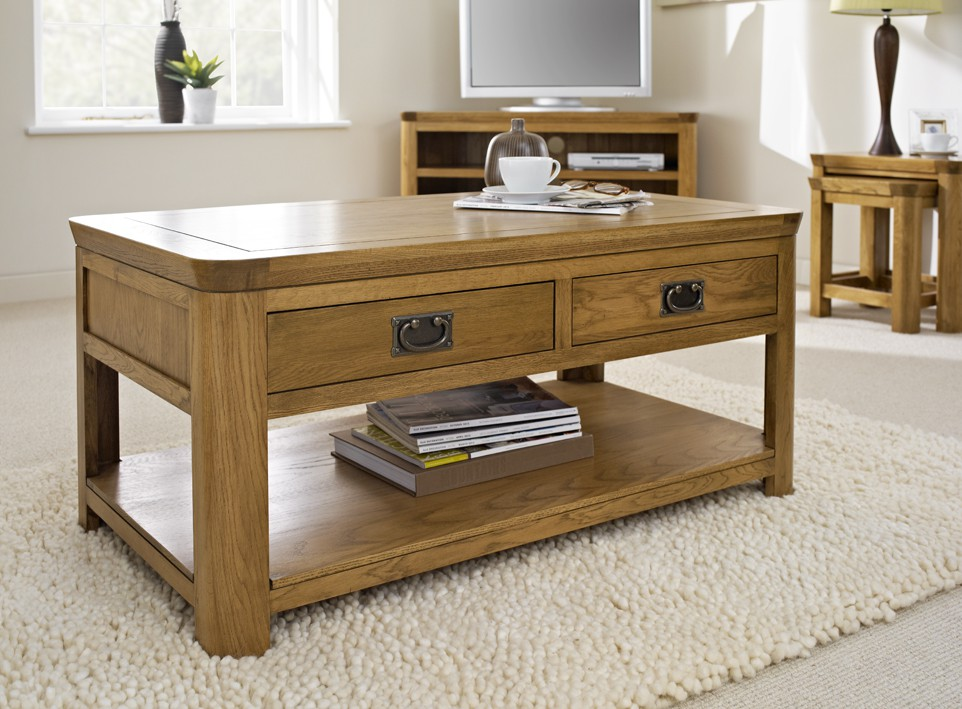 London Dark Oak Coffee Table With Drawers Coffee Tables Living Room Hallowood