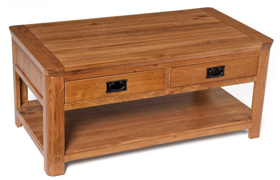 London Dark Oak Coffee Table With Drawers Coffee Tables Living Room Hal