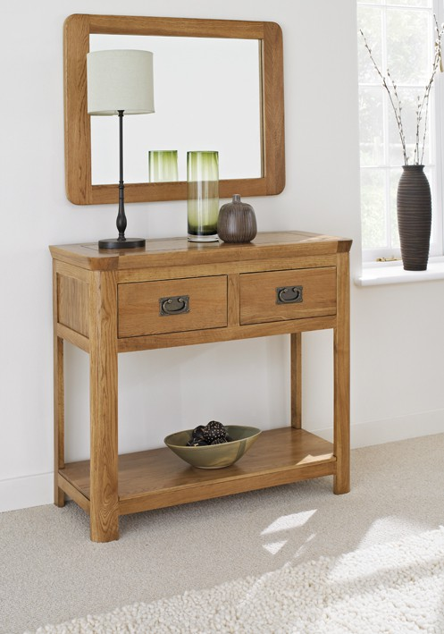 London Dark Oak Console Table Hallowood
