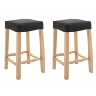 Pair of Wooden Bar Stool with Padded Seat (Charcoal Grey)