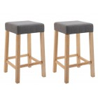 Pair of Wooden Bar Stool with Padded Seat (Steel Grey)