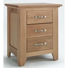 Camberley Oak 3 Drawer Bedside Table