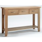 Camberley Oak Large Console Table with 3 Drawers