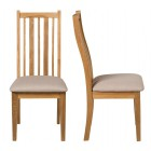 Oak Chair with Beige Fabric Seat Pad (Pair)