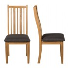 Oak Chair with Charcoal Grey Fabric Seat Pad (Pair)