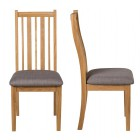 Oak Chair with Steel Grey Fabric Seat Pad (Pair)
