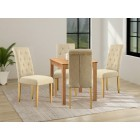 Hereford Oak Small Dining Table with 4 Fabric Chairs