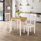 Ledbury Drop Leaf Round Table Set with 2 Chairs in White Painted and Oak Finish
