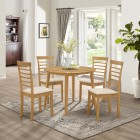 Ledbury Drop Leaf Round Table Set with 4 Chairs in Light Oak Finish