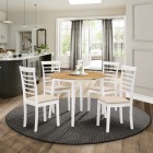 Ledbury Drop Leaf Round Table Set with 4 Chairs in White Painted and Oak Finish