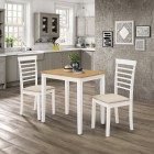 Ledbury Small Dining Table with 2 Chairs in White Painted and Light Oak Finish
